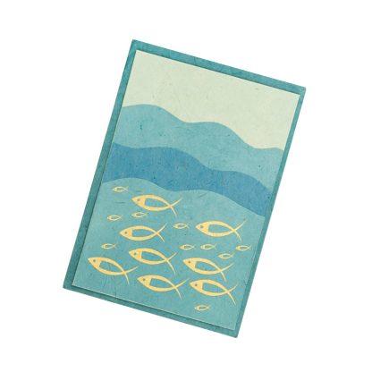 """Grußkarte """"Fische auf Wellen (gold)"""" mit Kuvert"""