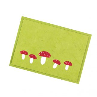 "Grußkarte ""Fliegenpilze (grün)"" mit Kuvert"