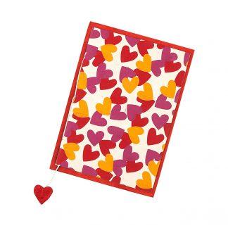 "Grußkarte ""Herzen (rot-fuchsia-orange)"" mit Kuvert"