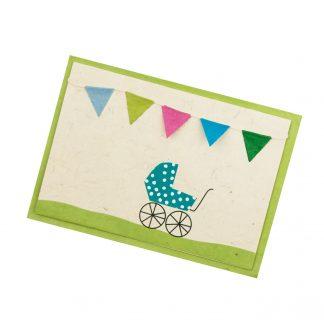 """Grußkarte """"Kinderwagen (blau)"""" mit Kuvert"""