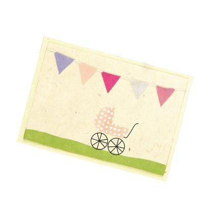 """Grußkarte """"Kinderwagen (rosa)"""" mit Kuvert"""