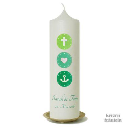"Hochzeitskerze ""Glaube Liebe Hoffnung (hellgrün-mint-aqua)"""