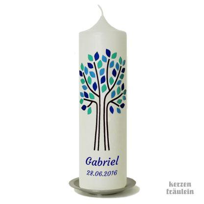 """Taufkerze """"Lebensbaum (aqua-taubenblau-dunkelblau)"""" - kerzenfräulein"""
