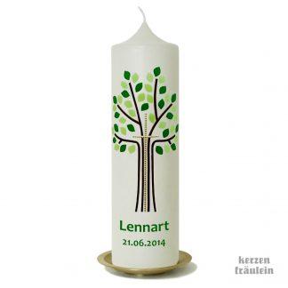 """Taufkerze Kommunionkerze """"Lebensbaum mit Kreuz (hellgrün-grün)"""" - kerzenfräulein - Baum des Lebens katholisch evangelisch Junge Mädchen"""