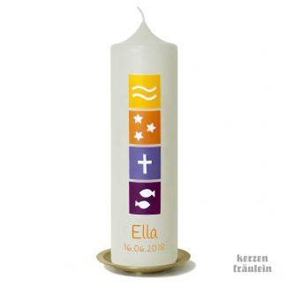 """Taufkerze """"Symbols (gelb-orange-lila)"""" - kerzenfräulein - Junge Mädchen Symbole Kreuz Wasser Fisch katholisch evangelisch"""