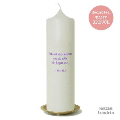 Beispiel für einen Taufspruch auf der Kerzenrückseite