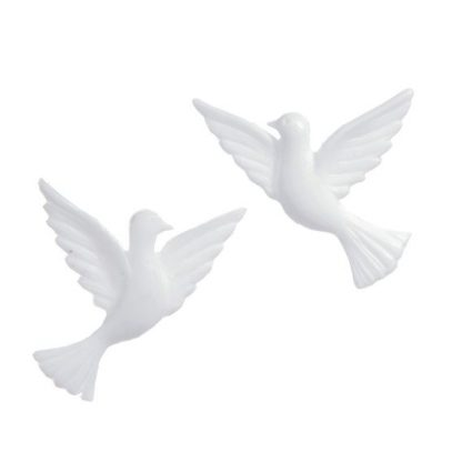 Verzierwachs Taubenpaar (weiß) 40x35 mm