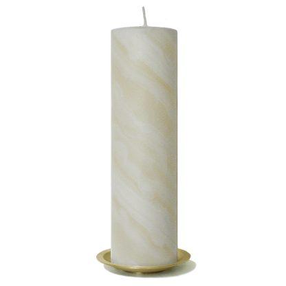 Kerzenrohling mit 25% Bienwachsanteil -25x7 cm auf Kerzenteller (gold)