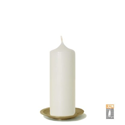 Kerzenrohling (elfenbein) 17x6 cm auf Kerzenteller (gold)