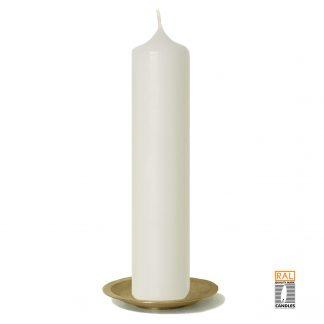 Kerzenrohling (elfenbein) 25x5 cm auf Kerzenteller (gold)
