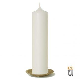Kerzenrohling (elfenbein) 25x6 cm auf Kerzenteller (gold)