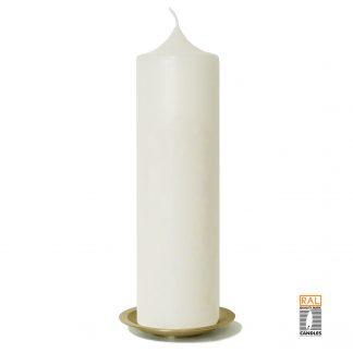 Kerzenrohling (elfenbein) 25x7 cm auf Kerzenteller (gold)