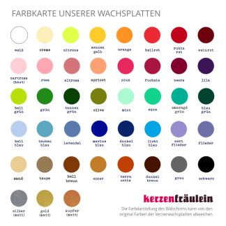 Farbkarte unserer einfarbigen Verzierwachsplatten - kerzenfräulein