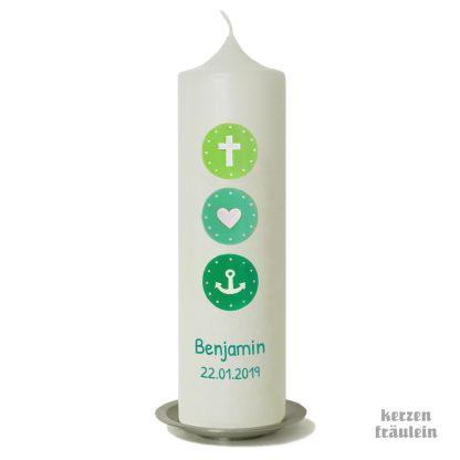 """Taufkerze """"Glaube Liebe Hoffnung (hellgrün-mint-aqua) - kerzenfräulein"""