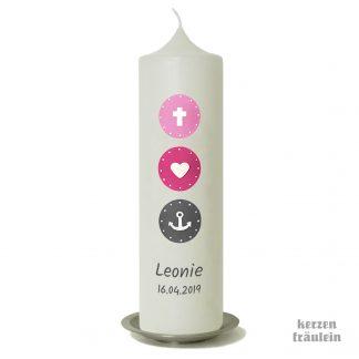 "Taufkerze ""Glaube Liebe Hoffnung (rosa-pink-grau) - kerzenfräulein"