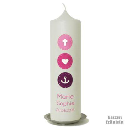 """Taufkerze """"Glaube Liebe Hoffnung (rosa-pink-lila) - kerzenfräulein"""