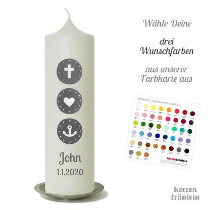 """Taufkerze """"Glaube Liebe Hoffnung"""" in Deinen Wunschfarben"""