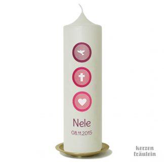"""Taufkerze """"Triple Dot (beere-fuchsia-pink) - kerzenfräulein"""
