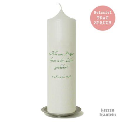 Beispiel für einen Trauspruch auf der Kerzenrückseite
