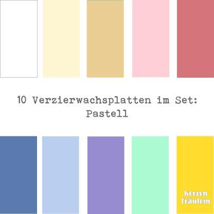 """10 Verzierwachsplatten im Set """"Pastell"""""""