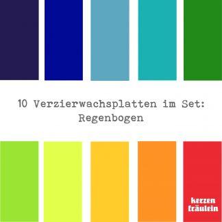 """10 Verzierwachsplatten im Set """"Regenbogen"""""""
