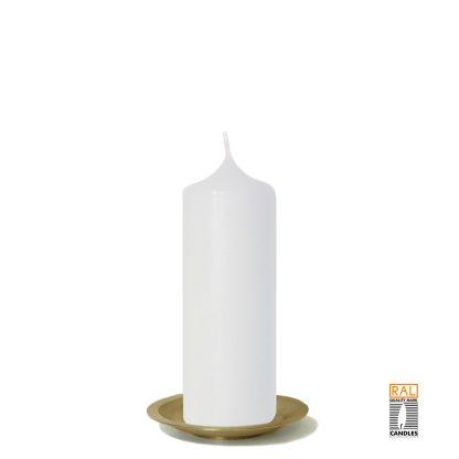 Kerzenrohling (weiß) 17x6 cm auf Kerzenteller (gold)