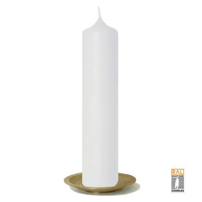 Kerzenrohling (weiß) 25x5 cm auf Kerzenteller (gold)