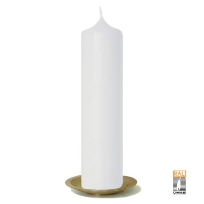 Kerzenrohling (weiß) 25x6 cm auf Kerzenteller (gold)