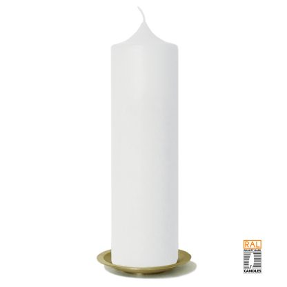 Kerzenrohling (weiß) 25x7 cm auf Kerzenteller (gold)