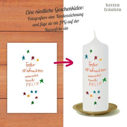 Deine Kerze - Dein Design - Beispiel auf Kerzengröße 17x6 cm