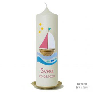 """Taufkerze """"Segelboot (altrosa)"""" - kerzenfräulein"""