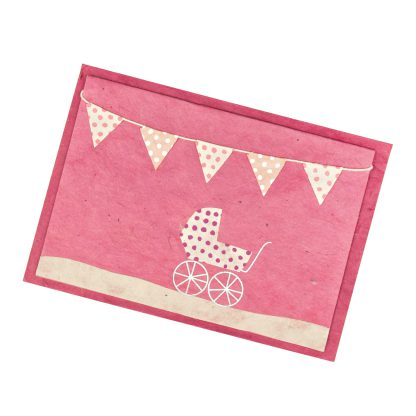 """Grußkarte """"Kinderwagen (rosa-weiß)"""" mit Kuvert"""