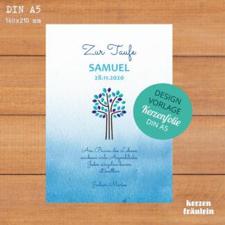 """Design-Vorlage Taufkerze """"Lebensbaum (blau)"""" - Kerzenfolie DIN A5"""