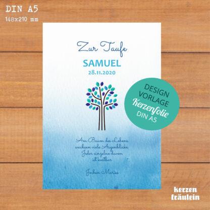 """Design-Vorlage """"Lebensbaum (blau)"""" - Kerzenfolie DIN A5"""
