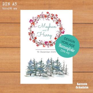"""Design-Vorlage Hochzeitskerze"""" Winterhochzeit"""" - Kerzenfolie DIN A5"""