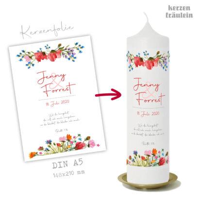 """Design Hochzeitskerze """"Sommerhochzeit"""" auf Kerzengröße 25x7 cm"""