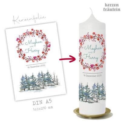 """Design Hochzeitskerze """"Winterhochzeit"""" auf Kerzengröße 25x7 cm"""