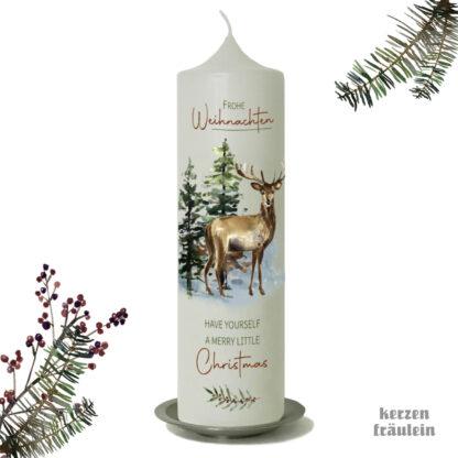 """Weihnachtskerze """"Winterwald mit Hirsch"""" 25x7 cm - kerzenfräulein"""