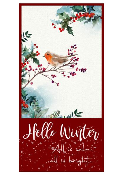 """Weihnachtskerze """"Hello Winter"""" 25x7 cm - kerzenfräulein"""