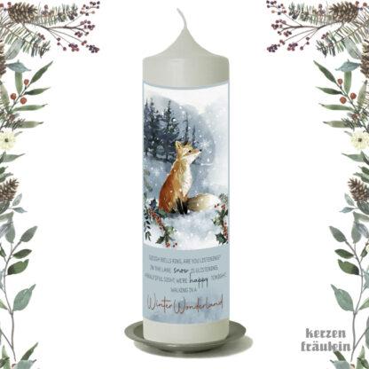 """Weihnachtskerze """"Winterwonderland"""" 25x7 cm - kerzenfräulein"""