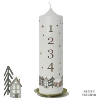 "Adventskerze ""Winterdorf"" 25x7 cm - kerzenfräulein"