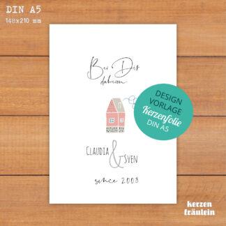 """Design-Vorlage Hochzeitskerze """"Bei Dir daheim"""" - Kerzenfolie DIN A5 - kerzenfräulein"""