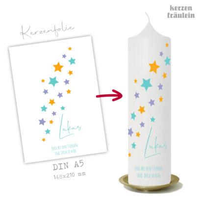 """Design Trauerkerze """"Little Stars"""" auf Kerzengröße 25x7 cm - kerzenfräulein"""