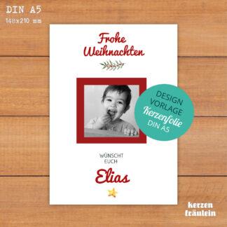 Design-Vorlage Weihnachtskerze mit Foto - Kerzenfolie DIN A5 - kerzenfräulein