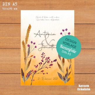 """Design-Vorlage """"Grasses & Berries"""" - Kerzenfolie DIN A5 - kerzenfräulein"""
