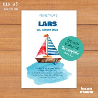 """Design-Vorlage Taufkerze """"Hey Sailor"""" - Kerzenfolie DIN A5 - kerzenfräulein"""