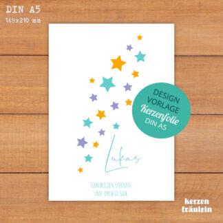 """Design-Vorlage Trauerkerze """"Little Stars"""" - Kerzenfolie DIN A5 - kerzenfräulein"""