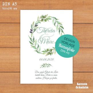 """Design-Vorlage Hochzeitskerze """"Olivenkranz"""" auf Kerzenfolie DIN A5 - kerzenfräulein"""