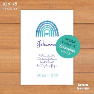 """Design-Vorlage Trauerkerze """"Regenbogen (blau)"""" DIN A5 - kerzenfräulein"""