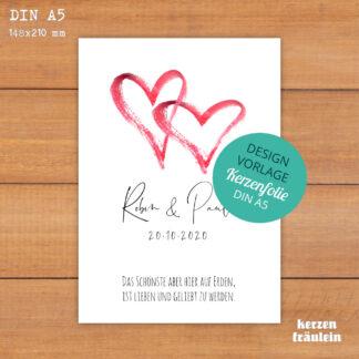 "Design-Vorlage Hochzeitskerze ""Two Hearts"" - Kerzenfolie DIN A5 - kerzenfräulein"